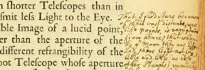 Detail of marginalia from a 1704 printing of Newton's Opticks now held at the Boston Public Library.